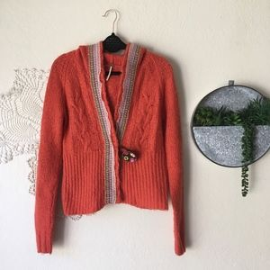 Free People cable knit embroidered trim cardigan